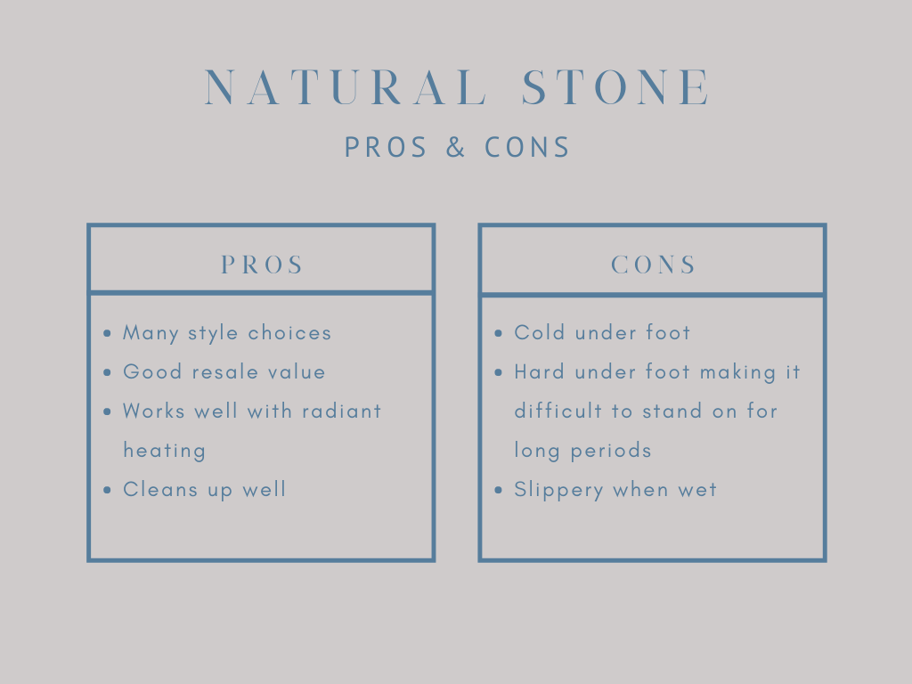 pros and cons of natural stone tile