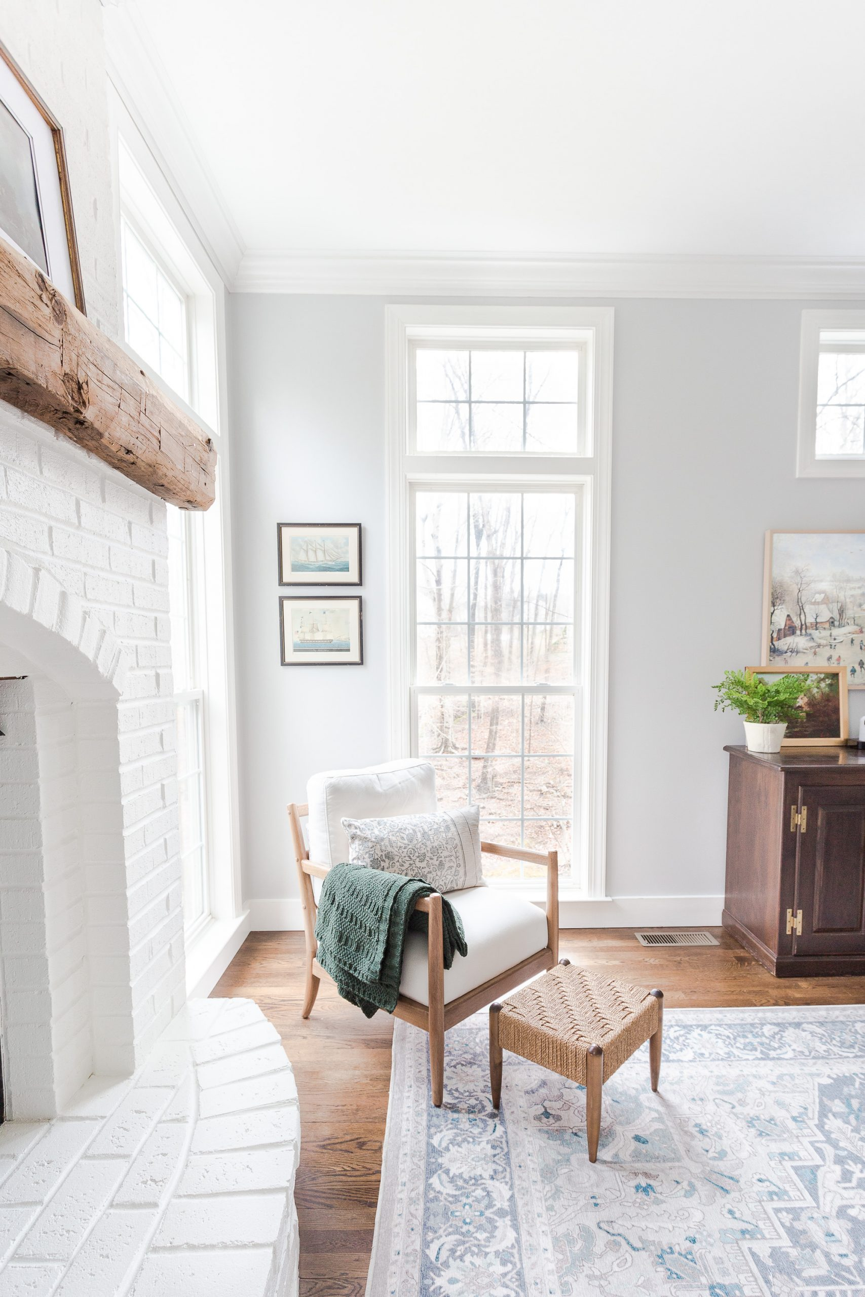 Family Room with chair in corner next to window