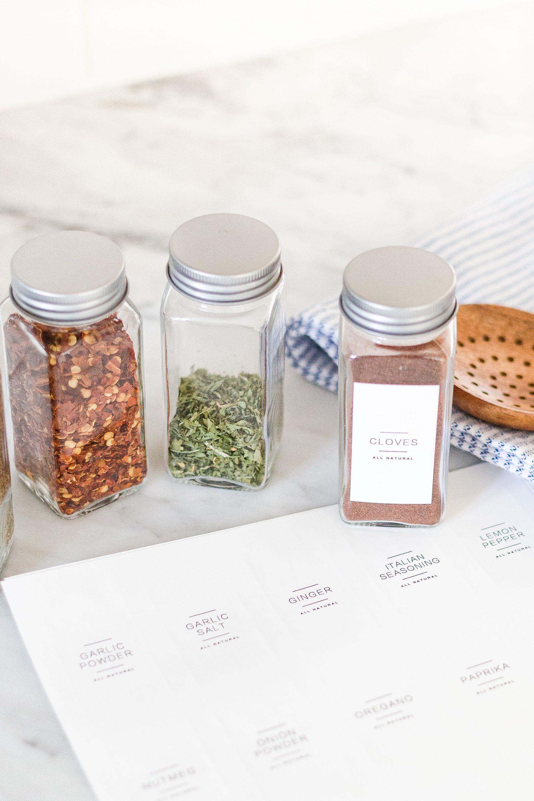 labeled spice jar organization